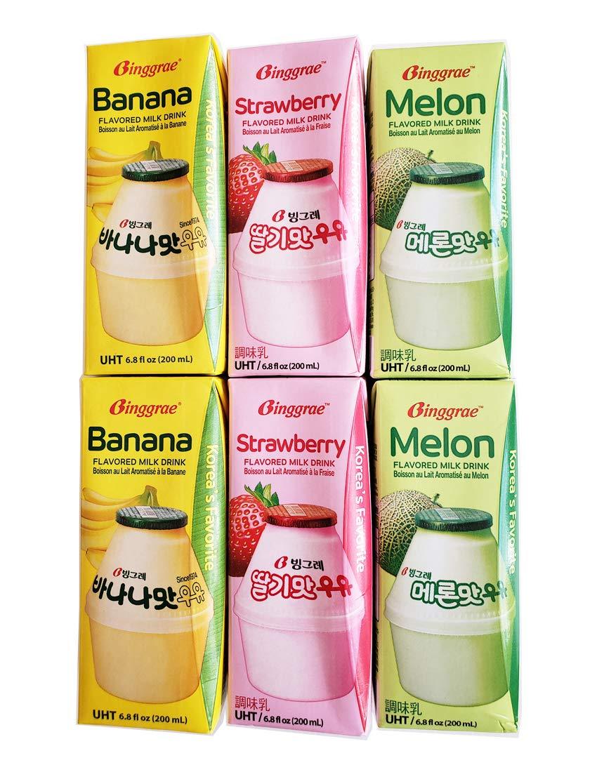 Binggrae Variety Banana, Strawberry, Melon Flavored Milk Drink 6 Packs