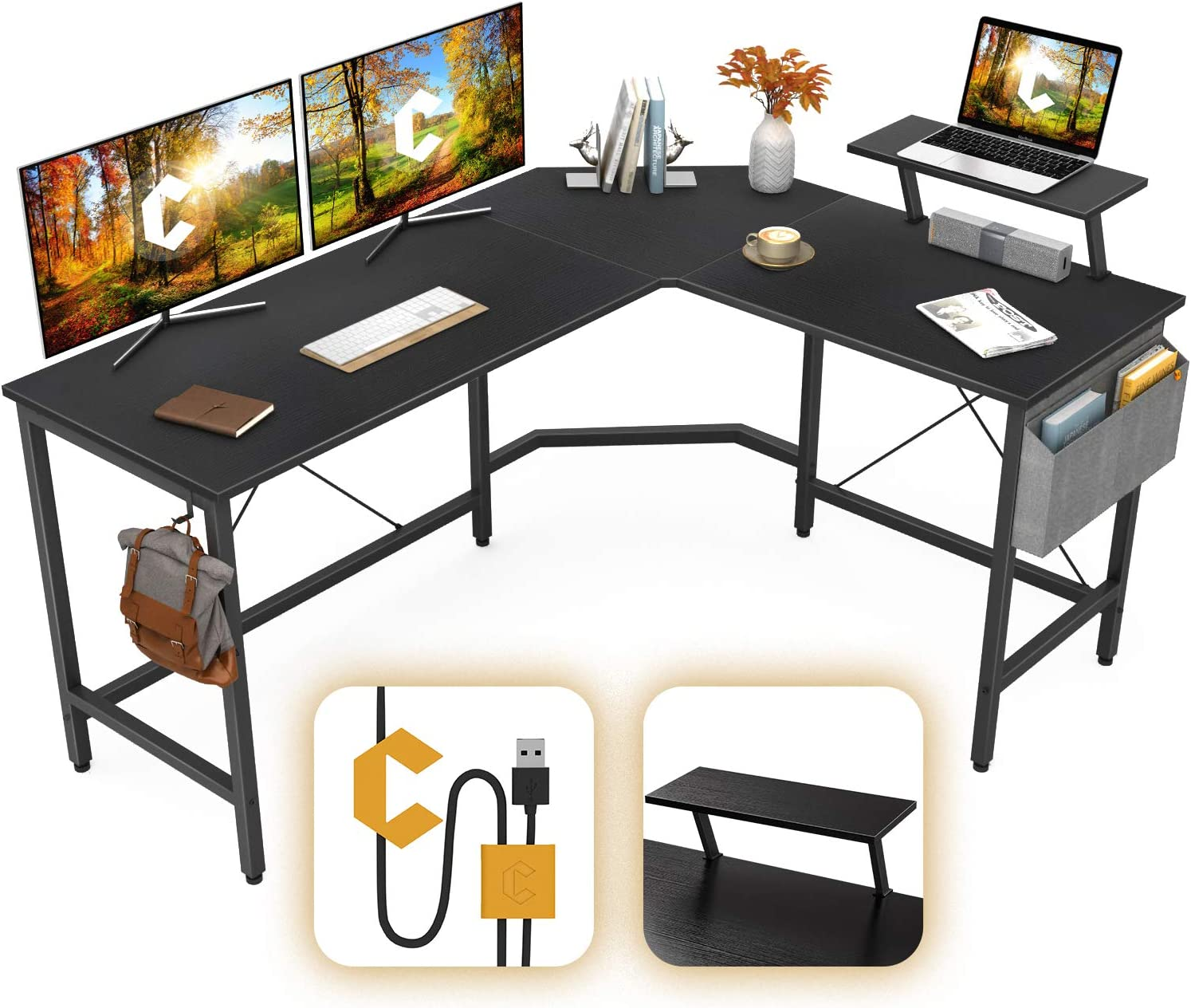 Cubiker Modern L-Shaped Computer Office Desk, Corner Gaming Desk with Monitor Stand, Home Study Writing Table Workstation for Small Spaces, Black