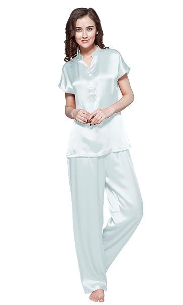 Lilysilk Conjunto De Pijamas De Seda Medio Abotonado Frente Celeste Claro Talla XXL