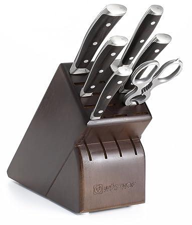 Wusthof Ikon 7 Piece Knife Set With Blackwood Handles And Storage Block