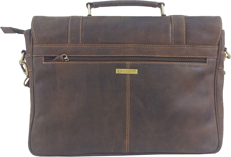 UNICORN Real Leather 16.4 laptop bag Messenger Briefcase Brown #2J