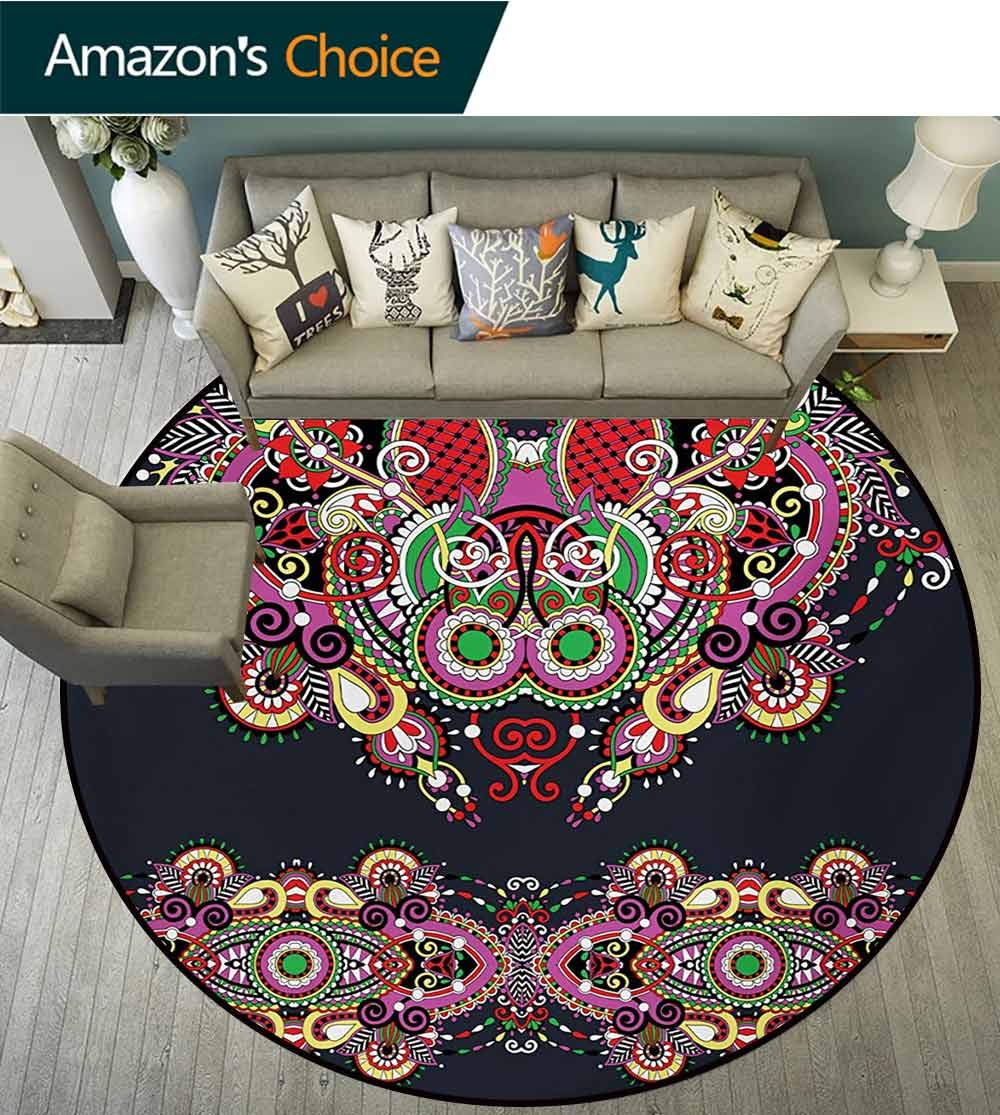 RUGSMAT Ethnic Non-Slip Area Rug Pad Round,Ukrainian Embroidery Fashioned Ornate Paisley with Unique Features Motif Protect Floors While Securing Rug Making Vacuuming,Round-71 Inch by RUGSMAT (Image #2)
