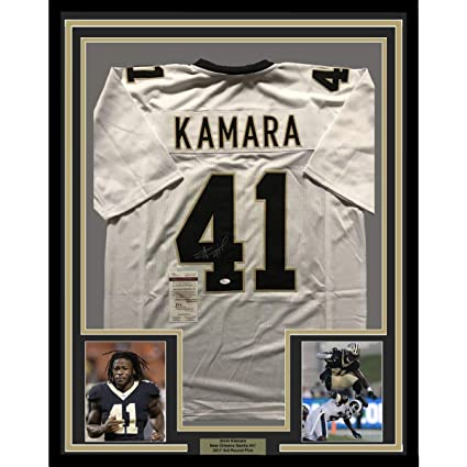 2915a4fc218 Image Unavailable. Image not available for. Color: Framed  Autographed/Signed Alvin Kamara 33x42 New Orleans White ...