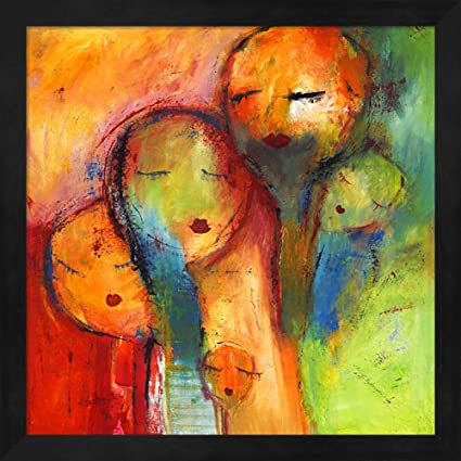 great art now abstract faces 1 by claudia fine art print with wood box frame and