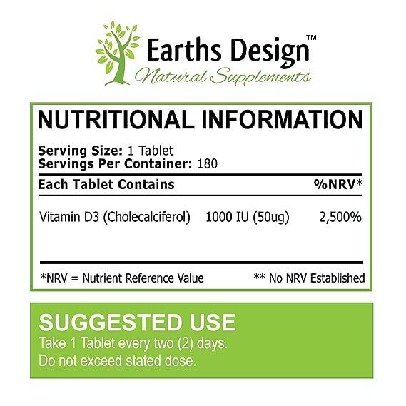 Vitamina D 1000 IU - Colecalciferol - Alta Concentración y Absorción - Vitamin D3 - Para Hombres y Mujeres - Apto Vegetarianos - 180 Pastillas (Suministro ...