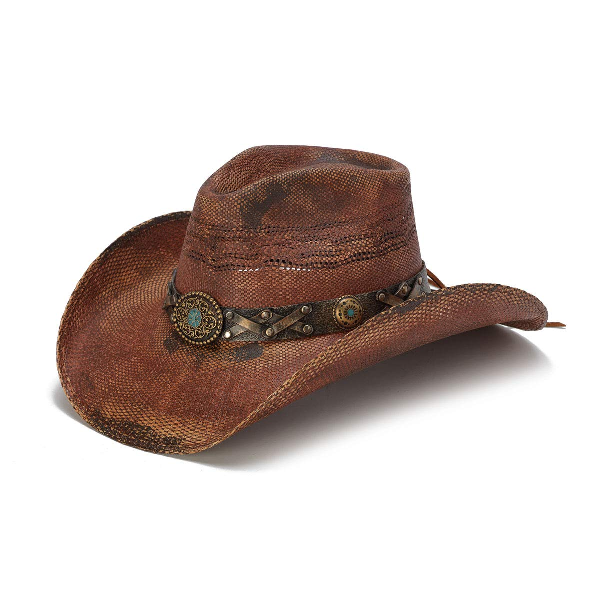 Stampede Hats Women's Cowgirl Drim Rustic Cowboy Hat with Turquoise Stone S Red