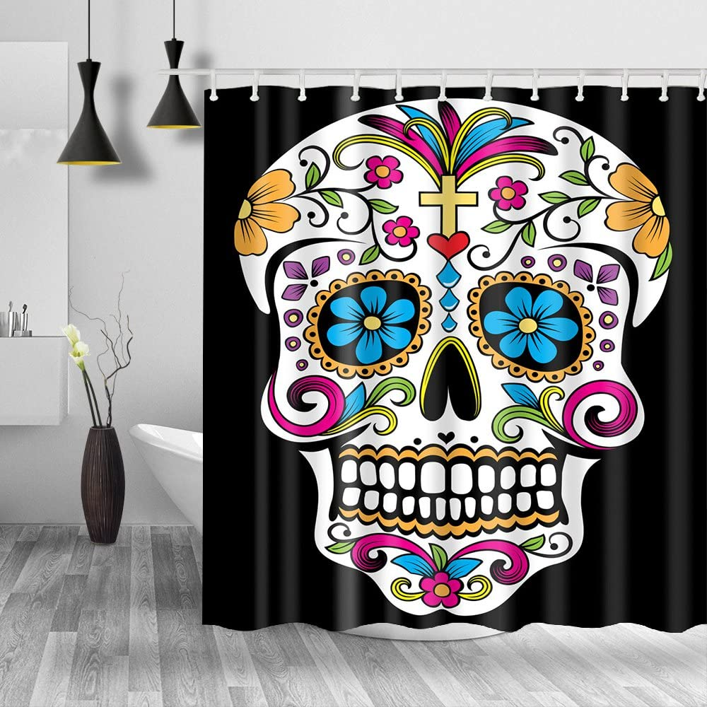 Amazon Com Homify Sugar Skull Shower Curtain 100 Polyester