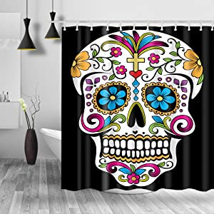 """Homify Sugar Skull Shower Curtain - 100% Polyester Water-Repellent,Mildew Resistant, Black 71""""x71"""" Fabric Shower Curtain Set for Bathroom,Shower Rings Included"""