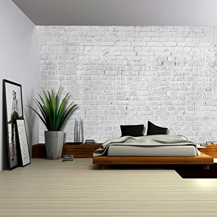 Amazoncom Wall26 Gray and Grungy Brick Wall with Dripping White