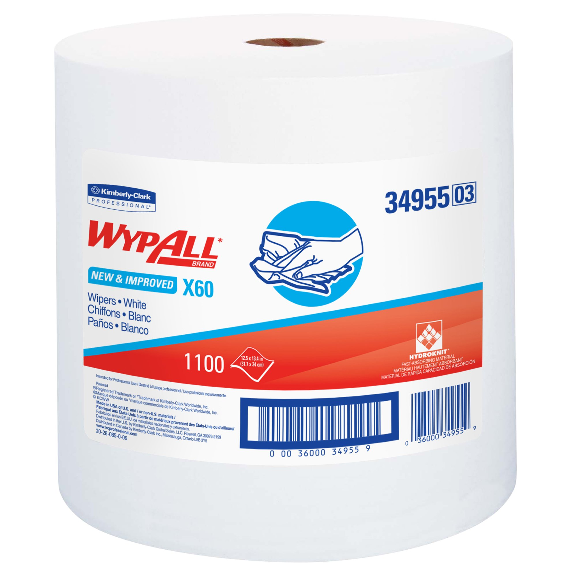 Wypall X60 Reusable Cloths (34955), White, Jumbo Roll, 1100 Sheets / Roll, 1 Roll / Case