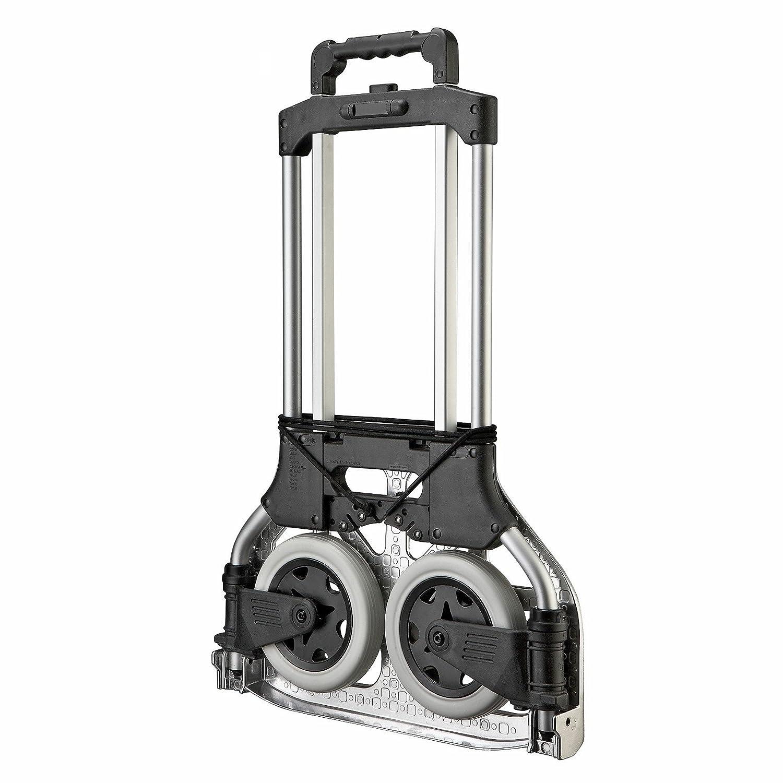 80/kg Tragf/ähigkeit Handkarre T-EQUIP Klappbare Sackkarre FST-80S kompakte Karre Schwarz Hergestellt aus Aluminium