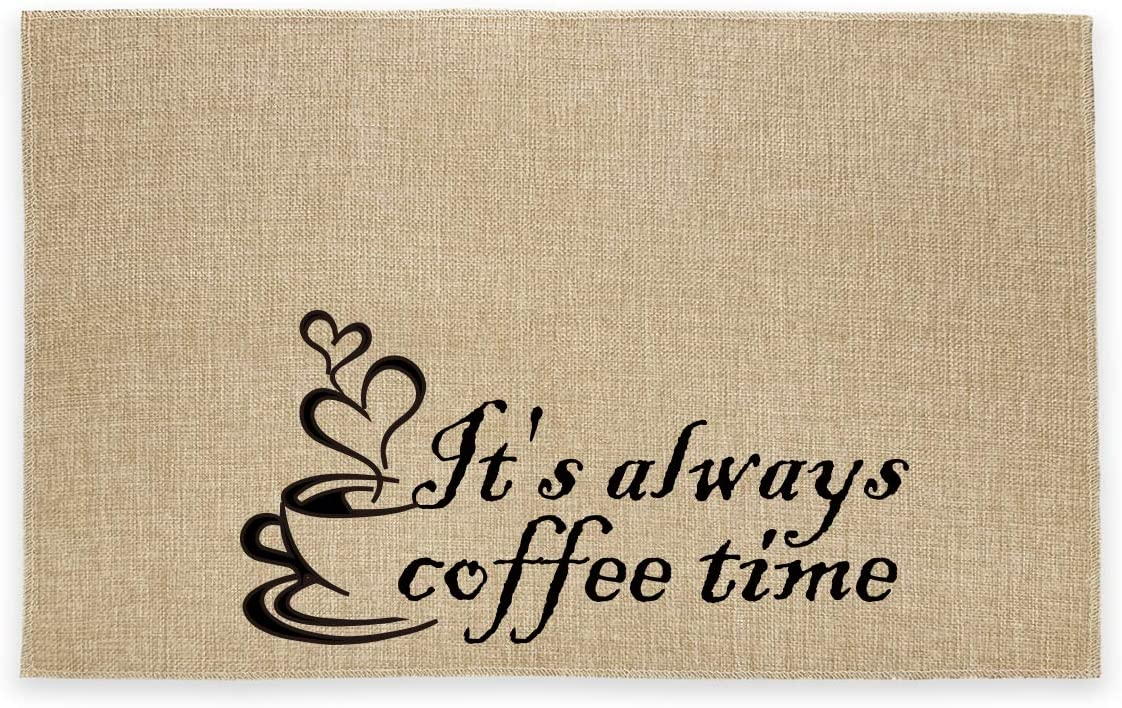 Rustic Burlap Coffee Bar Mat - It's Always Coffee Time Vintage Placemat Easy to Clean - Natural Jute Coffee Maker Mat Gifts for Coffee Bar Home Decor Parties Daily Use