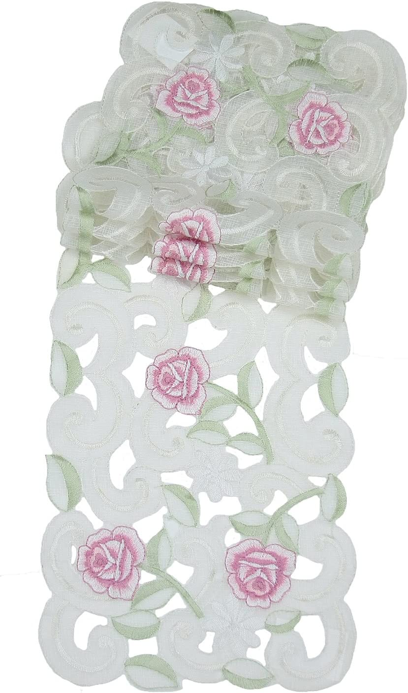 Xia Home Fashions Dainty Rose Embroidered Cutwork Spring Traycloth, 8-Inch by 15-Inch, Set of 4