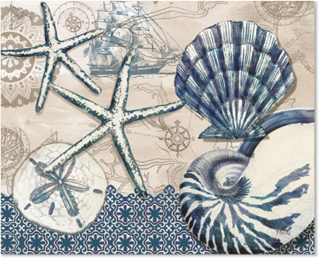 """Chop Chop Designer Printed Flexible Cutting Board Mat, Made in the USA of BPA Free Food Grade Plastic, Tide Pool Shells by Paul Brent,15"""" x 11.5"""""""