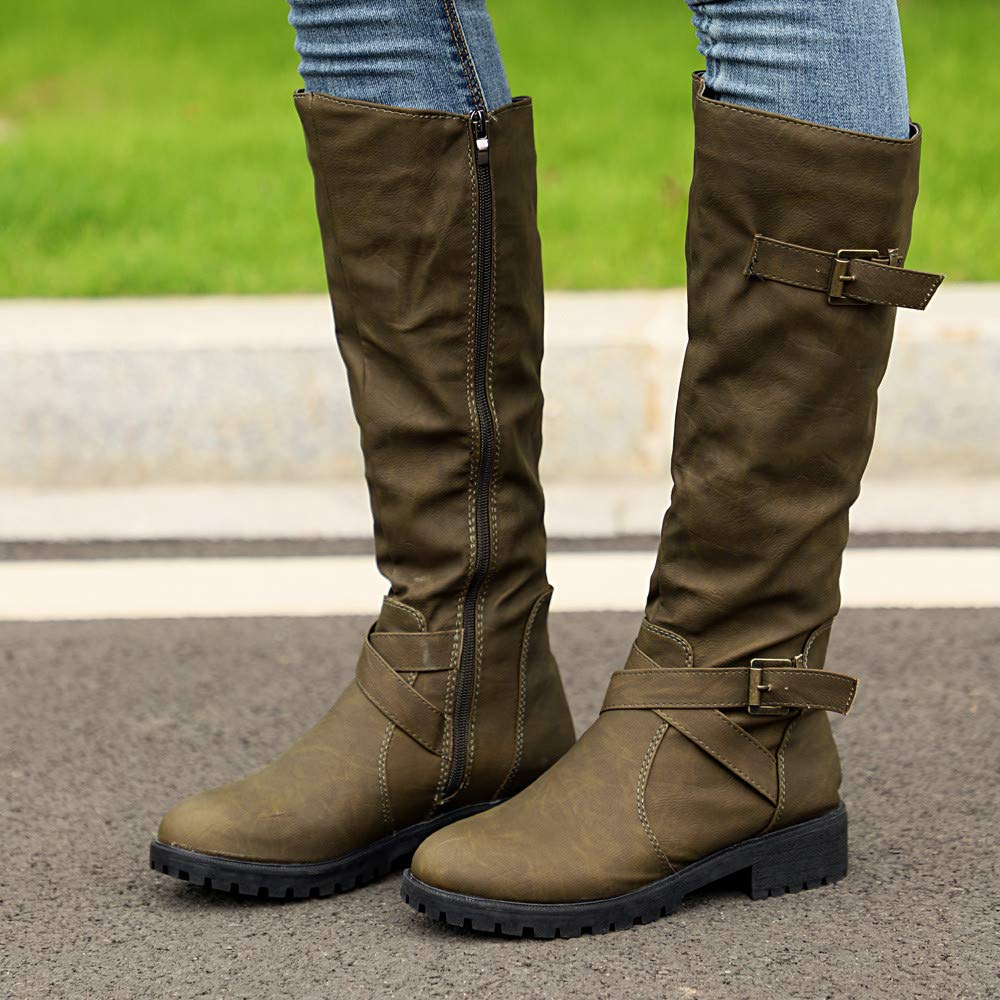 39ab3eb7fb7 Womens Army Boots Cinsanong Ladies Knee High Calf Boots Zip Punk Military  Combat Biker Shoes