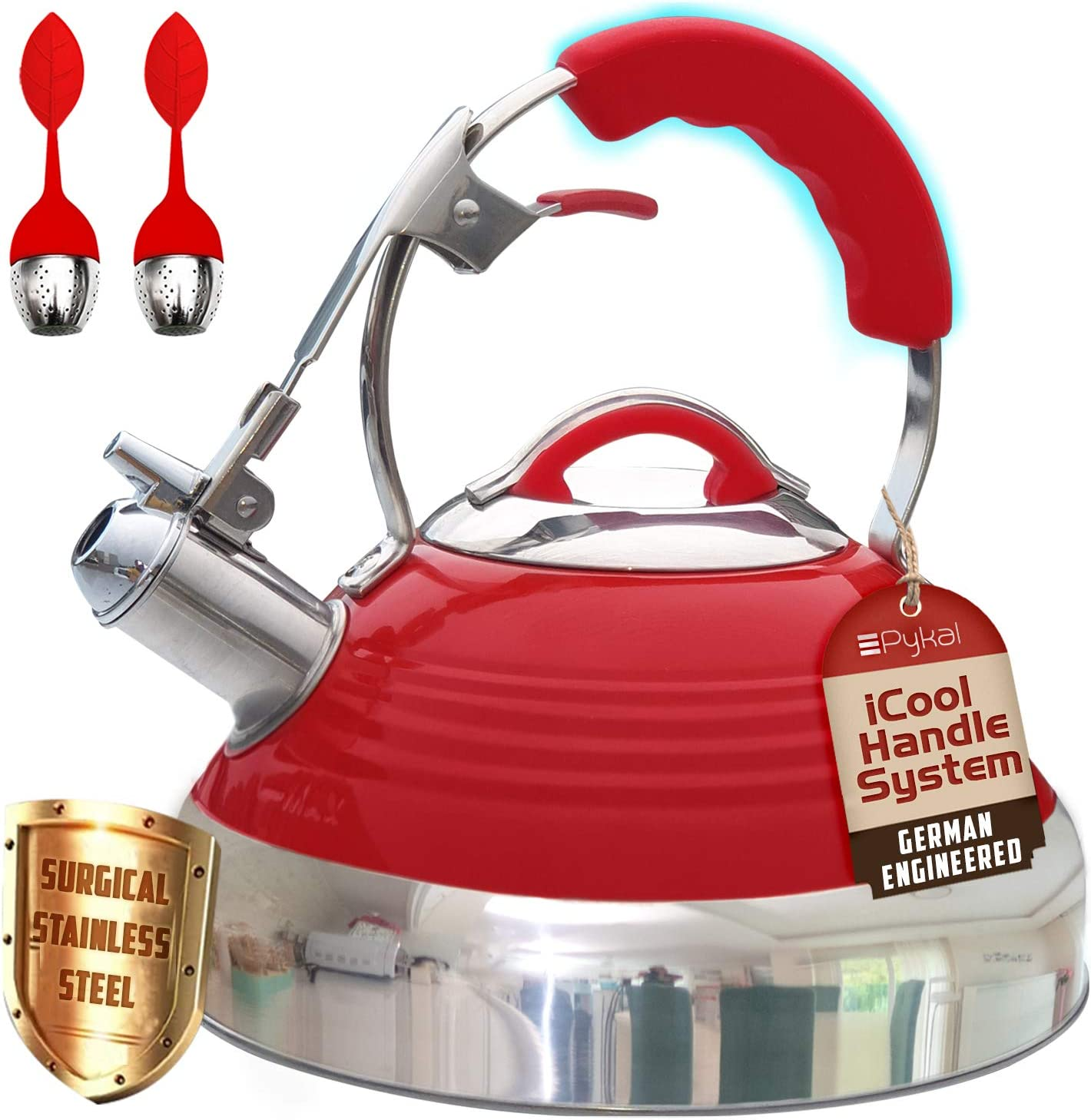 Whistling Tea Kettle Red Hotness with iCool-Handle Technology and 2 Free Infusers for Loose Leaf Tea | Surgical Stainless Steel, Compatible on all Stovetops