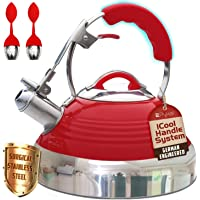 Whistling Tea Kettle Red Hotness with iCool-Handle Technology and 2 Free Infusers for Loose Leaf Tea   Surgical Stainless Steel, Compatible on All Stovetops - Induction or Gas  2.8 QT Volume by Pykal