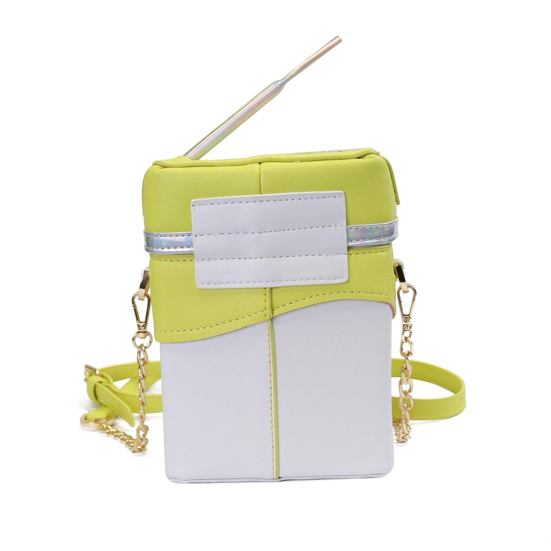 2eb9b740670b Amazon.com  LUI SUI-Cute Laser Shoulder Chain Bag Straw Lemon Milk Box  Cross-body Bag Mobile Phone Wallet C50 (Lemon)  Shoes