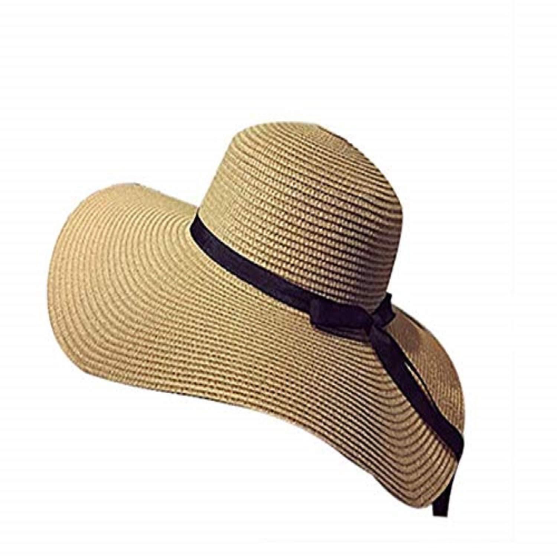 SUNNHATS Women's Sun Hat Straw Wide Brim Beach Floppy Derby Bow Ladies Ribbon Cap