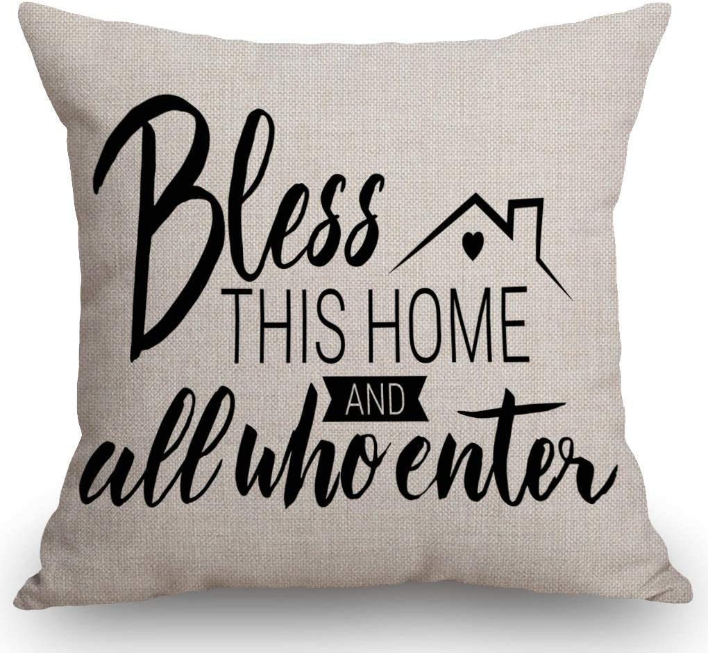 """SSOIU Motivation Throw Pillow Cover, Bless This Home and All Who Enter Cotton Linen Throw Pillow Case Cushion Cover Pillowcase for Sofa Home Bed Decorative 18""""x18"""""""