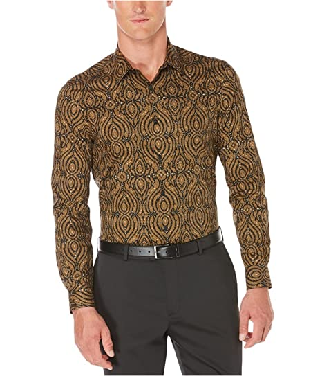 Perry Ellis Mens Ornate Print Button Up Shirt Brown S at Amazon Men s  Clothing store  cea239e8e