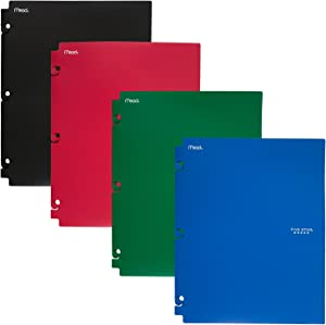 Five Star 2-Pocket Folders, Snap-In Binder Folder, Assorted Primary Colors, 4 Pack (73266)