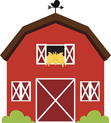 Amazon Com Red Barn Farm House Red Animals Rooster Hay