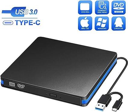 Grabadora CD/DVD Externa USB 3.0 y Tipo C, BlueFire Unidades de ...