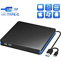 BlueFire External CD DVD Drive, Slim USB C Laptop Drive Portable External Disc Drive, High Speed Data Transfer USB 3.0 Type-C Optical Drive, Compatible with Laptop MacBook iMac PC Window 10/8/7 Linux