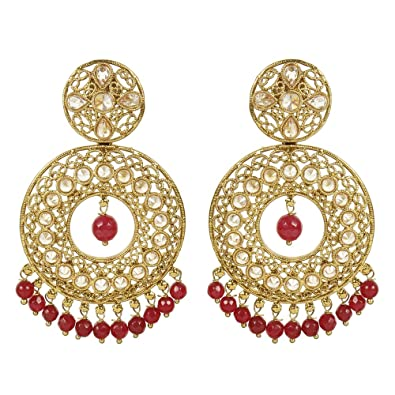 eb4f04bbd4f Buy MUCH MORE Gold Tone Polki Earrings With Beautiful Droping of Ruby Stone  for Women s Online at Low Prices in India