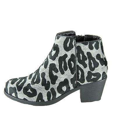 4329ccb2deac Dooballo Women s Leah Faux Fur Leopard Print Ankle Boots Bootie Black ...