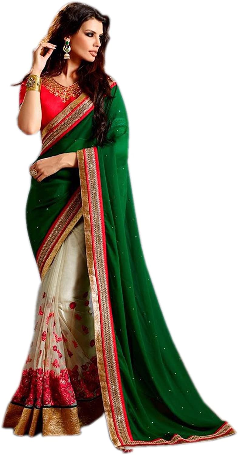 Try n Gets Green and White Color Fancy Designer Georgette Embroidered Saree