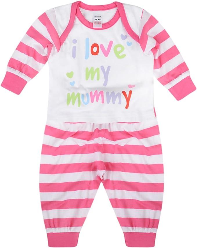 BABY BOYS PYJAMA SETS I LOVE MY MUMMY I LOVE MY DADDY 0-9M COTTON LONG PJ SET