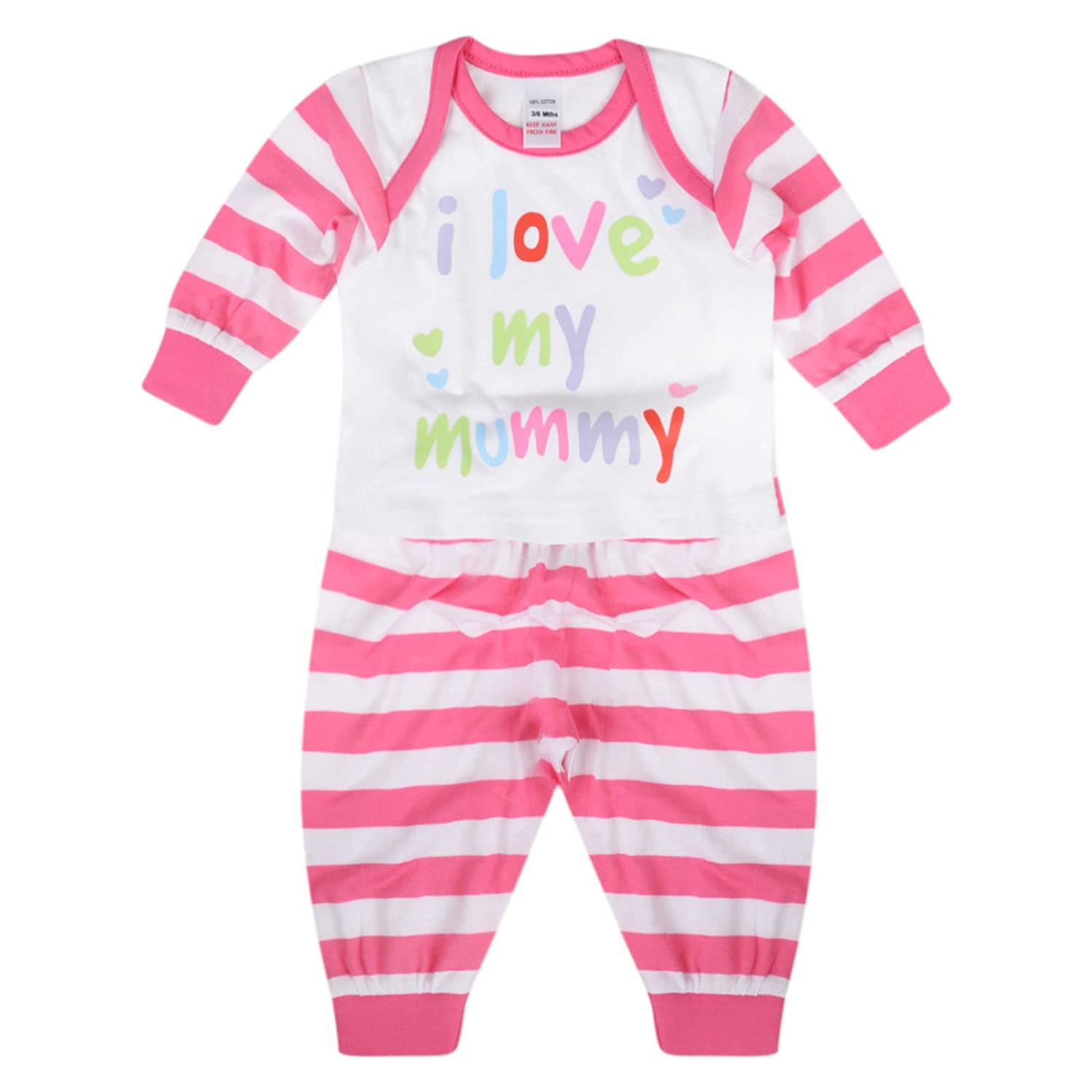Paradise Baby Girls Pyjama Sets I Love My Mummy I Love My Daddy Cotton Long PJ Set
