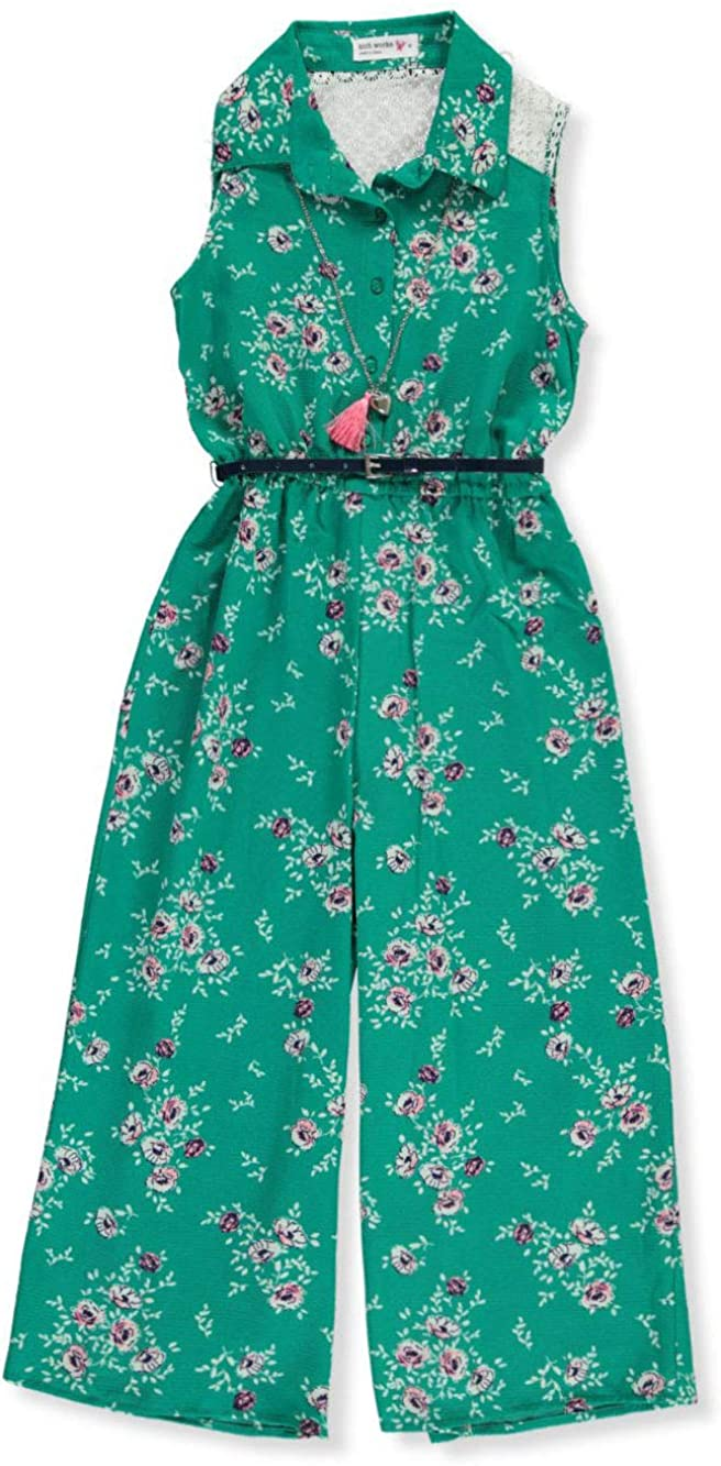 Knit Works Girls Floral Belted Jumpsuit with Necklace