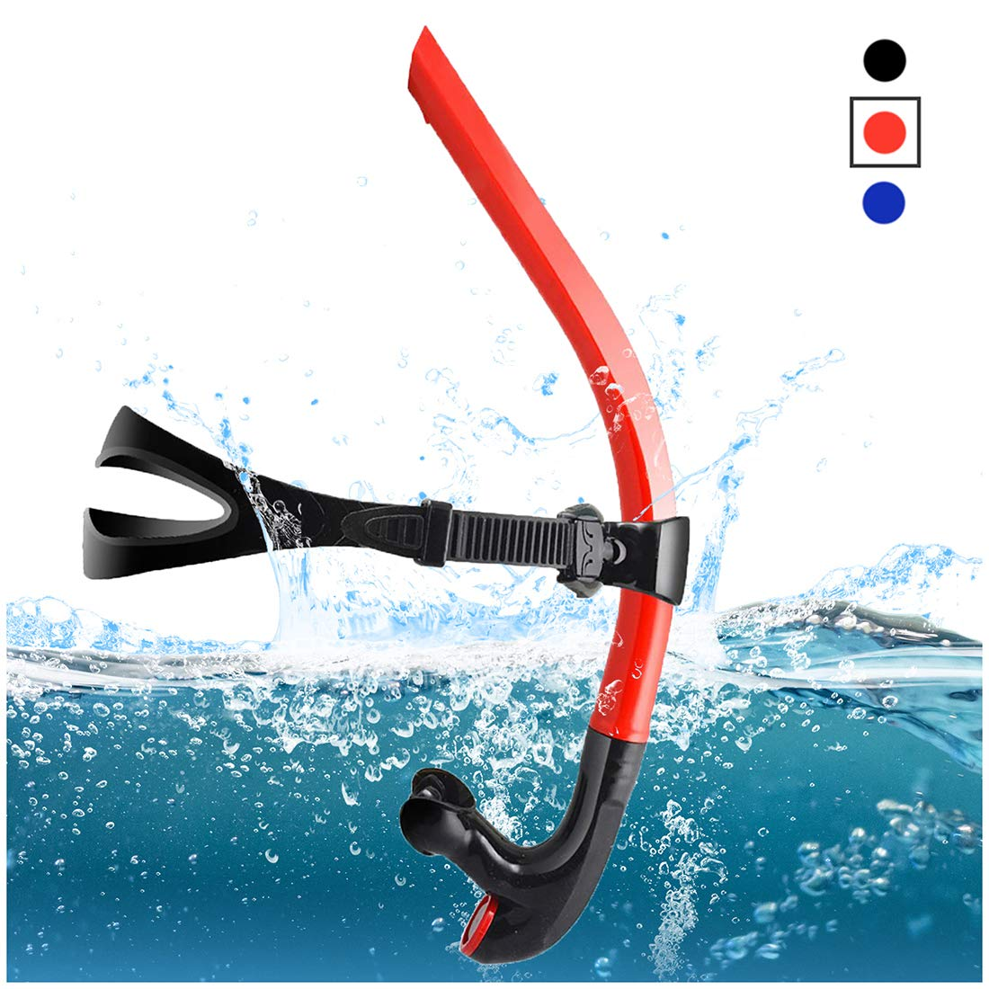 TangyueW Swim Snorkel, One-Way Purge Valve Swimmers Snorkel for Lap Swimming Training Snorkeling, Front Mounted Training Gear with Comfortable Silicone Mouthpiece (Red)
