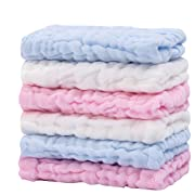 CXMYKE Muslin Baby Washcloths - Super Water Absorbent for Baby Face Towels - Soft Newborn Baby Wipes, Suitable for Baby's Delicate Skin,The Best Shower Gifts for Boy Both Girl - 6 Pack 12x12 inches