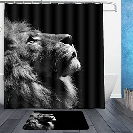 SWEET TANG King Lion Of Judah Reggae Rasta Shower Curtain Liner With Hooks And Bath