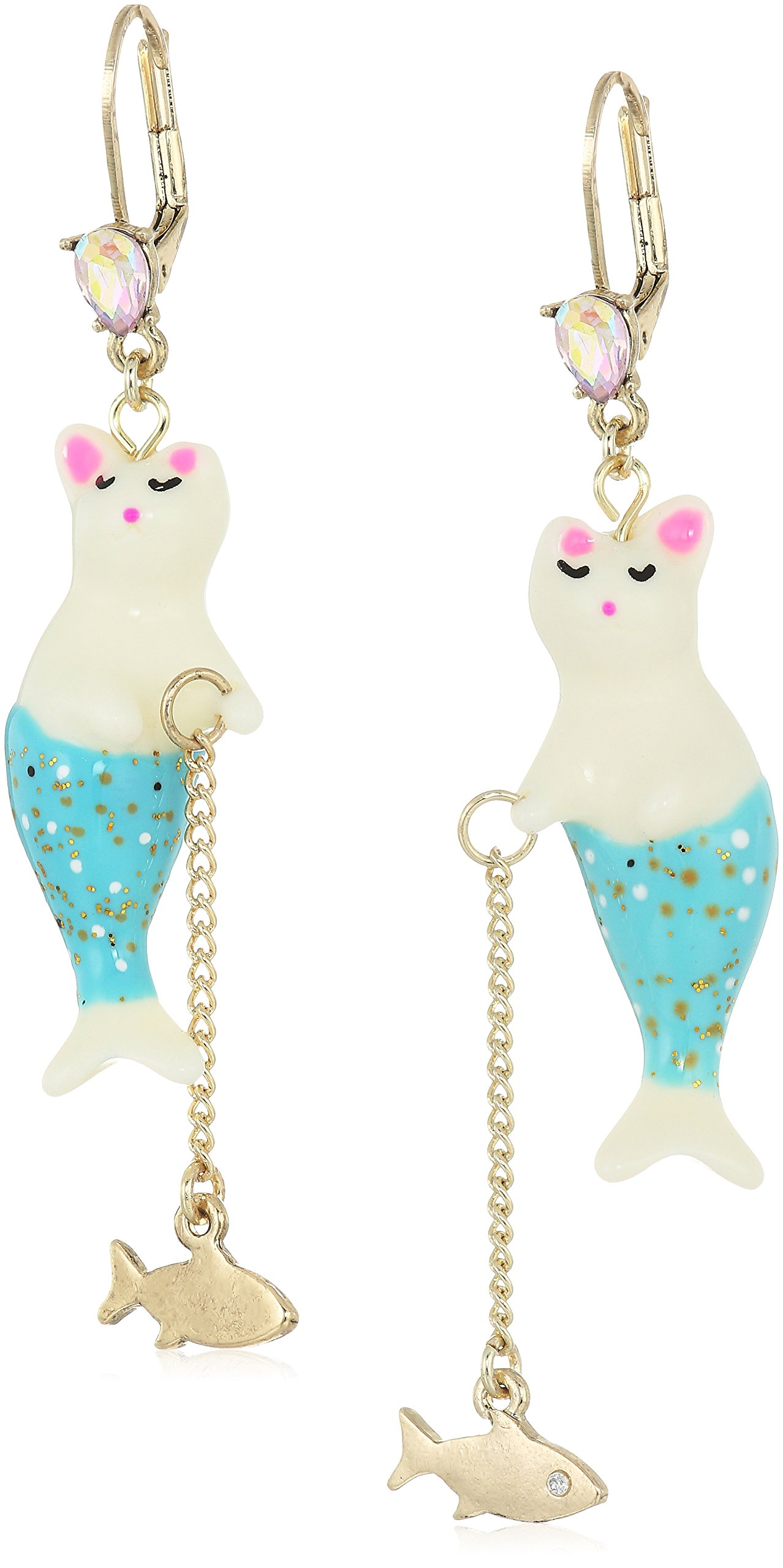 Betsey Johnson Women's Crabby Couture Purmaid and Fish Drop Earrings, Blue, One Size