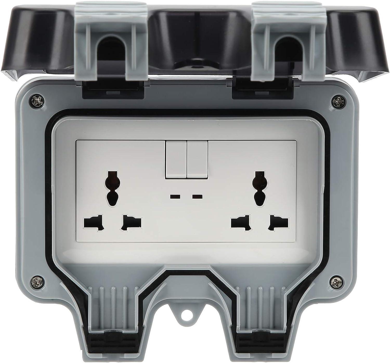 Toma de corriente para exteriores con 2 tomas de corriente de pared para exteriores de 3 orificios, tomas de corriente a prueba de agua, sin perforaciones, resistencia a altas temperaturas, resistenci
