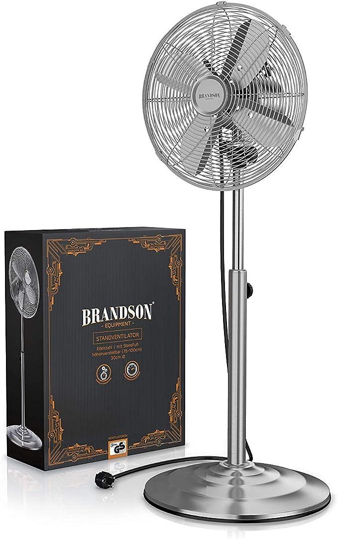 Brandson – Ventilador de pie cromado, pie de apoyo regulable en ...