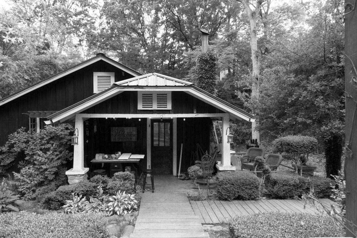 18 x 24 Black & White Canvas Wrap of This Typical North Carolina Mountain-Style Home Called Britton Nook in Ridgecrest North Carolina was a Summer Home of Photographer Carol M High n68 2017 Highsmith
