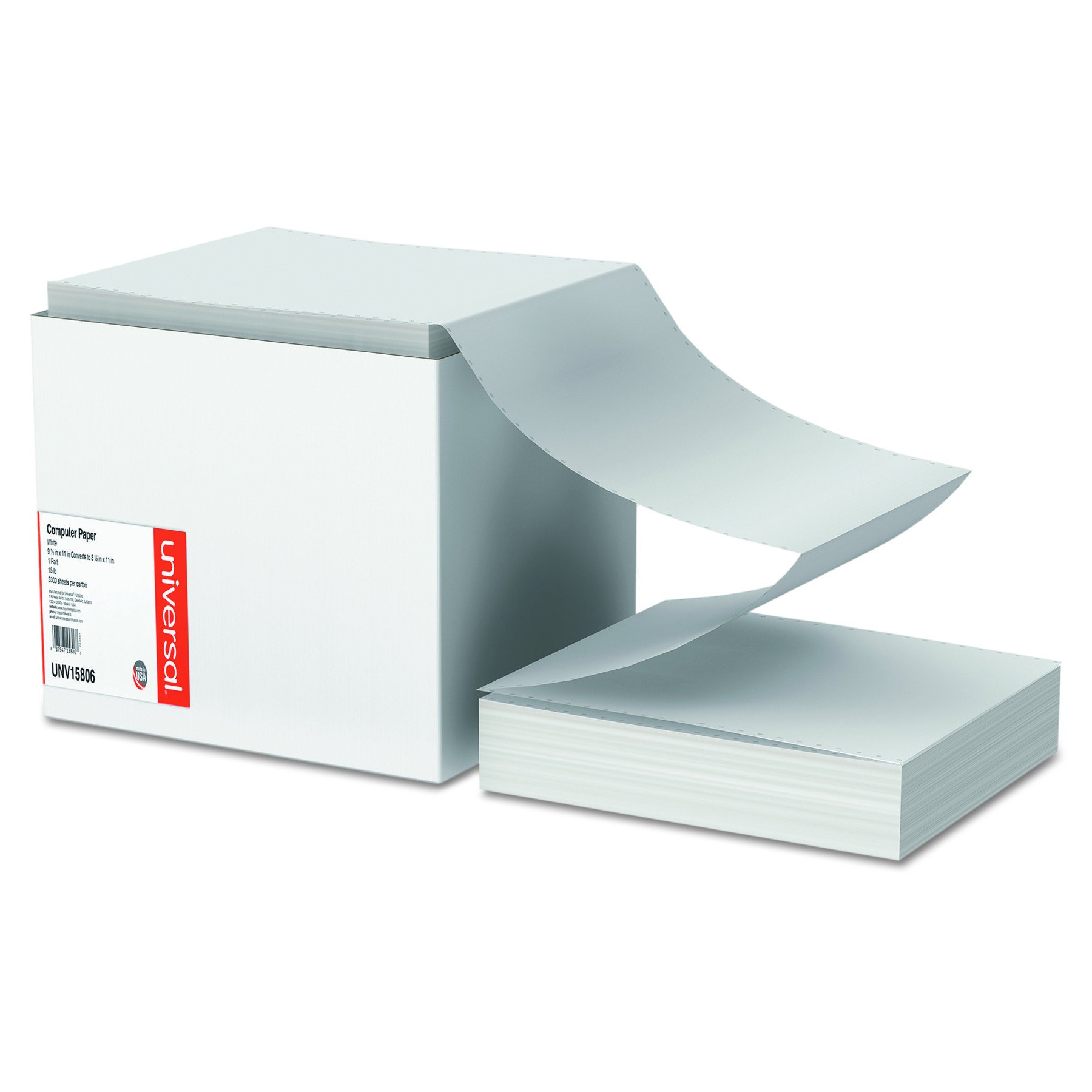 Universal Computer Paper, 15lb, 9-1/2'' x 11'' , Letter Trim Perforations, White, 3300 Sheets (15806)