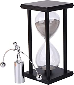 Decorative Sand Timer Clock Hourglass –with Balance Physics Motion Desk Toy Sculpture –(Light Gray) 60 Minute Productivity Hour Glass Sand Clock Timers for Office, Home Kitchen Desk Decor Pomodoro