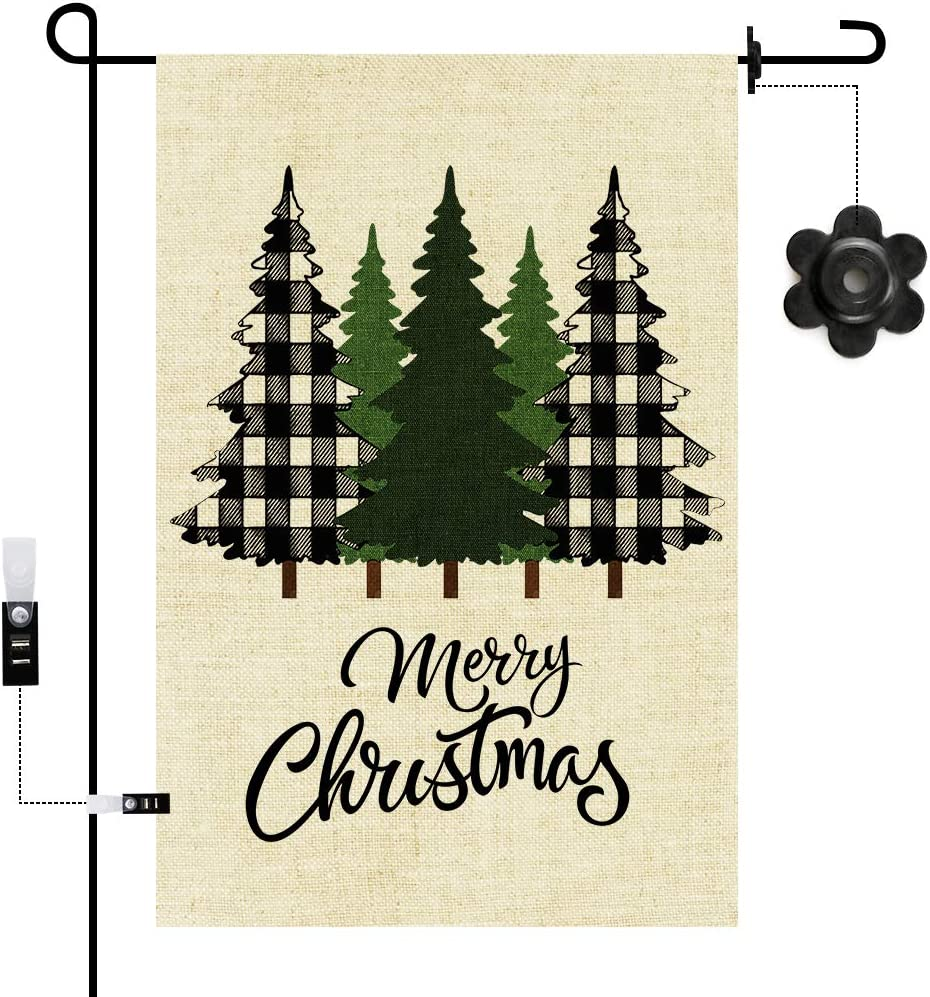 N- Winter Welcome Decorative Garden Flag Pine Trees Home Decorative Happy Holidays Christmas Garden Merry Christmas Decorative Small Garden Flag Christmas Pine Tree