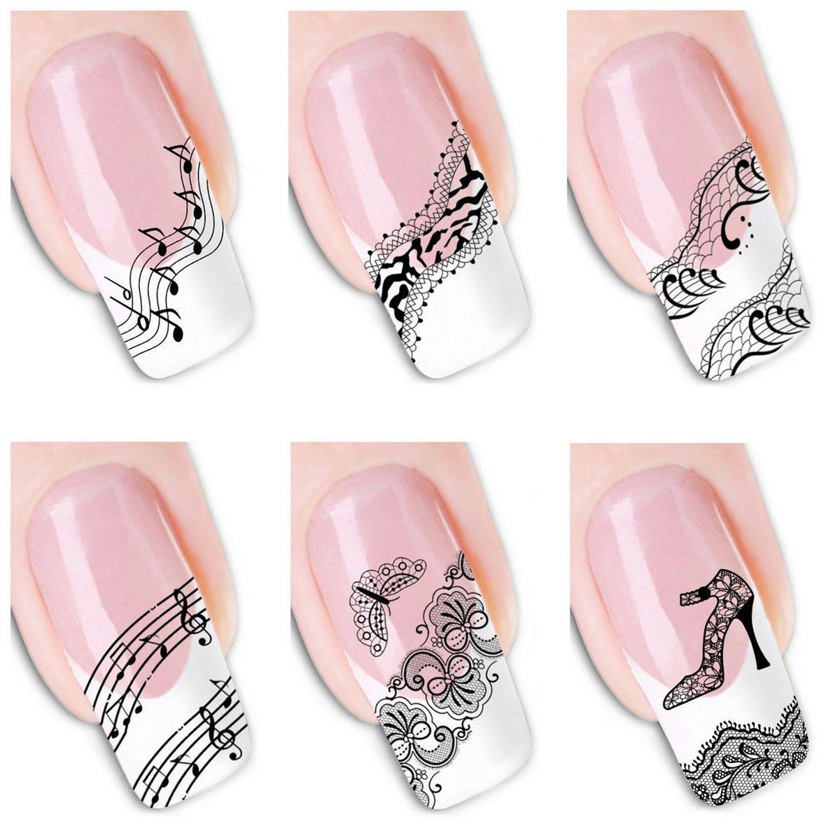 Amazon.com : 6Pcs Different Designs Nail Art Sticker Lace Music ...