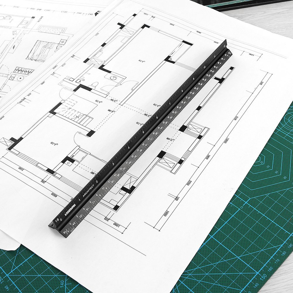 Laser-Etched Drafting Rulers for Blueprint Aluminum Architectural Scale Ruler,12 3 Sided Architect Ruler for Student and Engineer