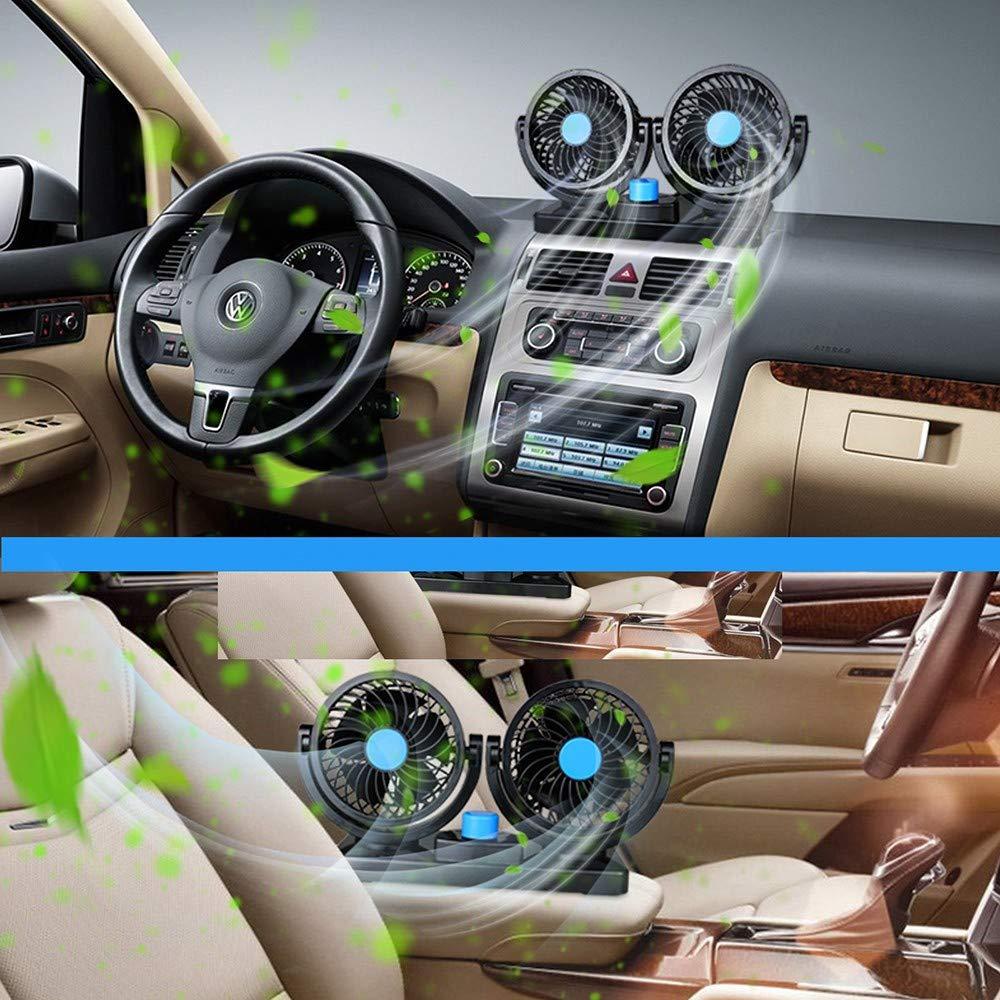 SUV RV pour V/éhicule Silencieux Ventilateurs de Refroidissement 12 V//24V 360 degr/és Rotatif 2 Vitesses Ajustable Double Voiture avec Allume Cigare QYHSS Ventilateur de Voiture