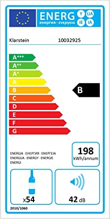 KLARSTEIN Barossa 54S - Nevera con Puerta acristalada, Nevera para vinos, 148 L, Capacidad 54 Botellas, 5-18 °C, Pantalla e iluminación Interior LED, Control táctil, Negro