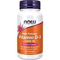 NOW Supplements, Vitamin D-3 1,000 IU, High Potency, Structural Support*, 180 Softgels